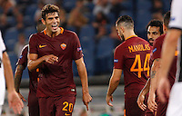 Calcio, Europa League: Roma vs Astra Giurgiu. Roma, stadio Olimpico, 29 settembre 2016.<br /> Roma&rsquo;s Federico Fazio, left, celebrates after scoring during the Europa League Group E soccer match between Roma and Astra Giurgiu at Rome's Olympic stadium, 29 September 2016. Roma won 4-0.<br /> UPDATE IMAGES PRESS/Riccardo De Luca