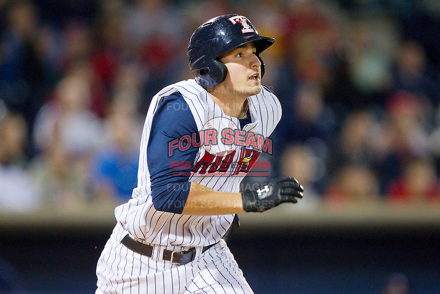 Nick Castellanos (23) of the Toledo Mudhens hustles down the first base line against the Charlotte Knights at 5/3 Field on May 3, 2013 in Toledo, Ohio.  The Knights defeated the Mudhens 10-2.  (Brian Westerholt/Four Seam Images)