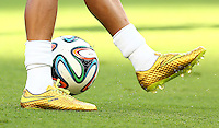 The gold personalised Nike football boots of Neymar of Brazil in the warm up
