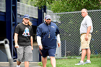 Wednesday August 10, 2016: New England Patriots defensive coordinator Matt Patricia (right) walks to the practice field with Steve Belichick (left) at a joint training camp practice between New England Patriots and  the New Orleans Saints  training camp held Gillette Stadium in Foxborough Massachusetts. Eric Canha/CSM