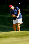 STILLWATER, OK - MAY 23: Haley Moore of Arizona chips onto the green during the Division I Women's Golf Team Match Play Championship held at the Karsten Creek Golf Club on May 23, 2018 in Stillwater, Oklahoma. (Photo by Shane Bevel/NCAA Photos via Getty Images)