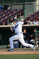 Hutton Moyer (20) of the Inland Empire 66ers bats against the Visalia Rawhide at San Manuel Stadium on June 26, 2016 in San Bernardino, California. Inland Empire defeated Visalia, 5-1. (Larry Goren/Four Seam Images)