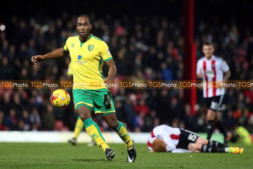 Cameron Jerome of Norwich in action during Brentford vs Norwich City, Sky Bet EFL Championship Football at Griffin Park on 31st December 2016