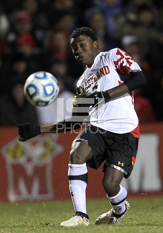 COLLEGE PARK, MD - NOVEMBER 25, 2012: Christiano Francois (3) of the University of Maryland in action against Coastal Carolina University during an NCAA championship third round match at Ludwig Field, in College Park, MD, on November 25. Maryland won 5-1.