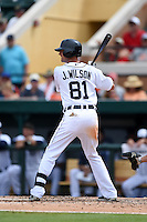 Detroit Tigers infielder Josh Wilson (81) during a Spring Training game against the Washington Nationals on March 22, 2015 at Joker Marchant Stadium in Lakeland, Florida.  The game ended in a 7-7 tie.  (Mike Janes/Four Seam Images)