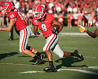 ATHENS, GA - SEPTEMBER 7: Dominick Blaylock #8 makes a run during a game between Murray State Racers and University of Georgia Bulldogs at Sanford Stadium on September 7, 2019 in Athens, Georgia.