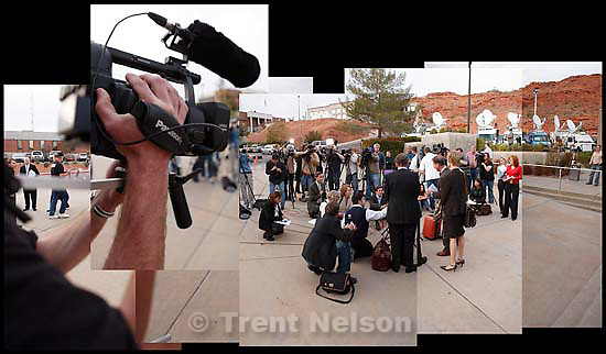 Media outside 5th district court at Warren Jeffs preliminary hearing.<br />
