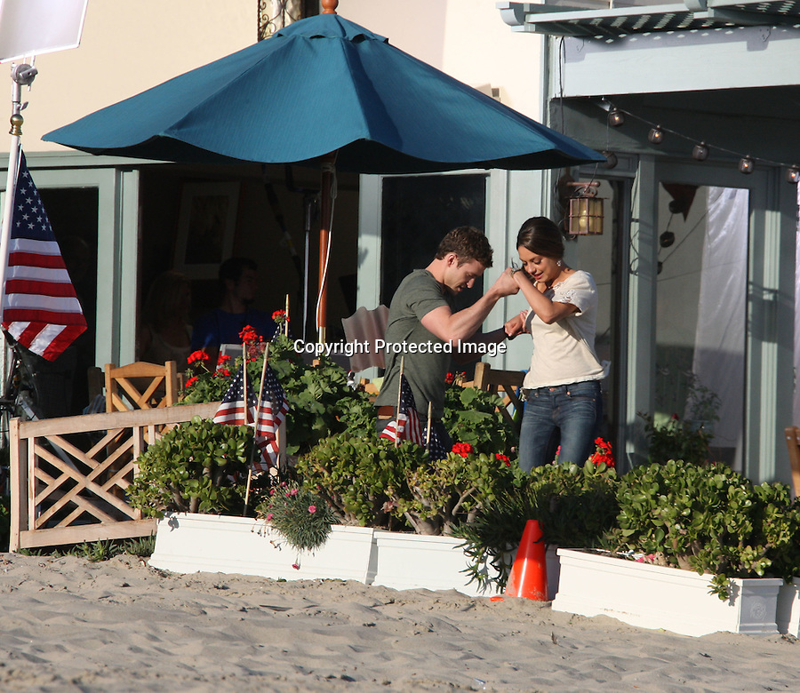 """TUESDAY August 31, 2010...Justin Timberlake picking up Mila Kunis & hugging a little kid..Richard Jenkins took off his pants wearing just his underwear next to a big dog while filming a scene for the movie """"Friends with Benefits"""" in Malibu beach. .Jenna Elfman was holding an American Flag & jumping in the air. Justin was running full speed on the beach chasing Mila ..AbilityFilms@yahoo.com.805-427-3519.www.AbilityFilms.com"""