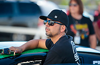Oct 18, 2019; Ennis, TX, USA; NHRA pro stock driver Richie Stevens during qualifying for the Fall Nationals at the Texas Motorplex. Mandatory Credit: Mark J. Rebilas-USA TODAY Sports