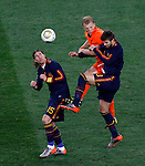 Sergio Ramos (15), Dirk Kuyt (c), Gerard Pique, Soccer, Football - 2010 FIFA World Cup - Johannesburg, South Africa, Sunday, July, 11, 2010. Final match, Netherlands vs Spain, Soccer City Stadium (credit & photo: Pedja Milosavljevic / +381 64 1260 959 / thepedja@gmail.com / STARSPORT )