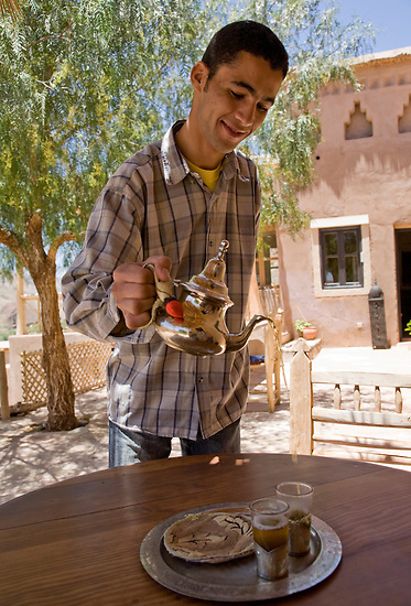 JUNE 2, 2008; TISSELDAY, MOROCCO; Mint tea is served at the stylish Irocha guest house in the small farming village of Tisselday in Southern Morocco. Photo by Matt May