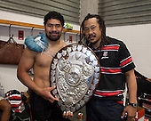 Steelers Captain Fritz Lee and Coach Tana Umaga with the Ranfurly Shield. ITM Cup and Ranfurly Shield rugby game between Hawke's Bay Magpies and Counties Manukau Steelers, played at McLean Park Napier on September 7th 2013.  Counties Manukau won the game 27 - 24 after trailing 16 - 14 at halftime. With the win Counties Manukau claimed the Ranfurly Shield for the first time in the Union history.