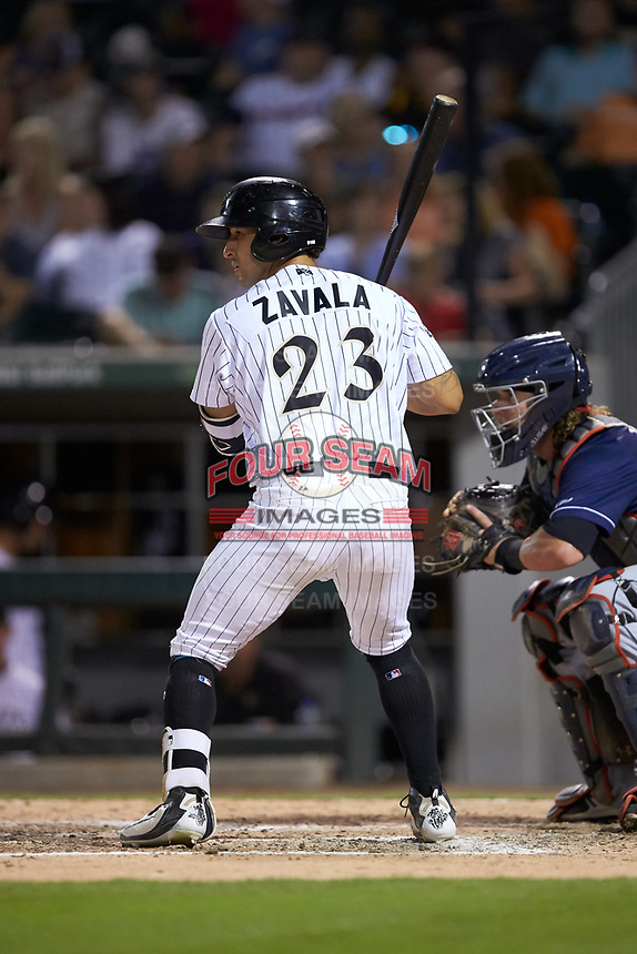 Seby Zavala (23) of the Charlotte Knights at bat against the Toledo Mud Hens at BB&T BallPark on June 22, 2018 in Charlotte, North Carolina. The Mud Hens defeated the Knights 4-0.  (Brian Westerholt/Four Seam Images)