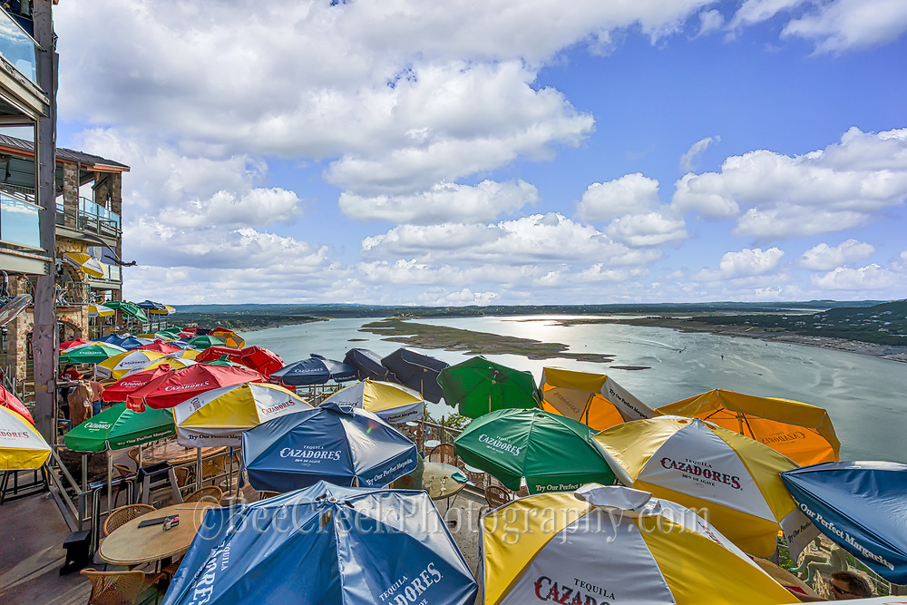 Another view of the Oasis on Lake Travis.  The colorful umbrellas are a great site but right about an hour before sunset they take them down so I had to capture these before the actual sunset.  It is sad that none are left up.