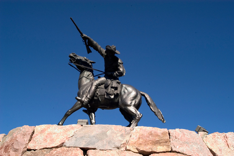 WY: Wyoming, Cody: Sculpture of Buffalo Bill by Gertrude Vanderbilt Whitney...Photo #: yellow613..Photo copyright Lee Foster, 510/549-2202, lee@fostertravel.com, www.fostertravel.com..