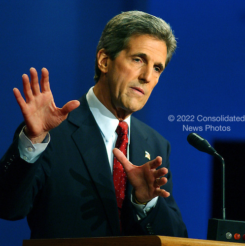 Coral Gables, FL - September 30, 2004 -- Democratic challenger United States Senator John F. Kerry (Democrat of Massachusetts) gestures with is hands as he debates United States President George W. Bush in the first of their three scheduled meetings at the University of Miami in Coral Gables, Florida on September 30, 2004..Credit: Ron Sachs / CNP