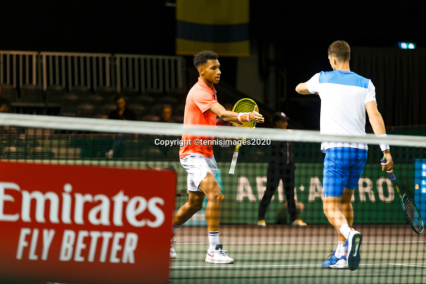 Rotterdam, The Netherlands, 9 Februari 2020, ABNAMRO World Tennis Tournament, Ahoy, Doubles: Felix Auger-Aliassime (CAN) and Oliver Marach (AUT).<br /> Photo: www.tennisimages.com