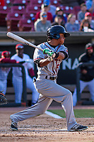Quad Cities River Bandits infielder Rodrigo Ayarza (6) swings at a pitch during a Midwest League game against the Wisconsin Timber Rattlers on April 8, 2017 at Fox Cities Stadium in Appleton, Wisconsin.  Wisconsin defeated Quad Cities 3-2. (Brad Krause/Four Seam Images)