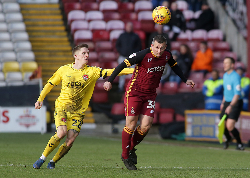 Bradford City's Paul Caddis is pressured by Fleetwood Town's Ashley Hunter<br /> <br /> Photographer David Shipman/CameraSport<br /> <br /> The EFL Sky Bet League One - Bradford City v Fleetwood Town - Saturday 9th February 2019 - Valley Parade - Bradford<br /> <br /> World Copyright © 2019 CameraSport. All rights reserved. 43 Linden Ave. Countesthorpe. Leicester. England. LE8 5PG - Tel: +44 (0) 116 277 4147 - admin@camerasport.com - www.camerasport.com