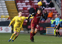 Bradford City's Paul Caddis is pressured by Fleetwood Town's Ashley Hunter<br /> <br /> Photographer David Shipman/CameraSport<br /> <br /> The EFL Sky Bet League One - Bradford City v Fleetwood Town - Saturday 9th February 2019 - Valley Parade - Bradford<br /> <br /> World Copyright &copy; 2019 CameraSport. All rights reserved. 43 Linden Ave. Countesthorpe. Leicester. England. LE8 5PG - Tel: +44 (0) 116 277 4147 - admin@camerasport.com - www.camerasport.com