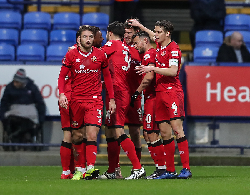 Walsall players celebrating their side's first goal<br /> <br /> Photographer Andrew Kearns/CameraSport<br /> <br /> Emirates FA Cup Third Round - Bolton Wanderers v Walsall - Saturday 5th January 2019 - University of Bolton Stadium - Bolton<br />  <br /> World Copyright © 2019 CameraSport. All rights reserved. 43 Linden Ave. Countesthorpe. Leicester. England. LE8 5PG - Tel: +44 (0) 116 277 4147 - admin@camerasport.com - www.camerasport.com