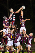 Joe Tuineau beats Ress Logan to the ball at lineout time. Air New Zealand Cup Rugby game between Counties Manukau Steelers and Southland, played at Bayer Growers Stadium Pukekohe on Thursday September 17th 2009. Southland won the game 14 - 6 after leading 8 - 6 at halftime.