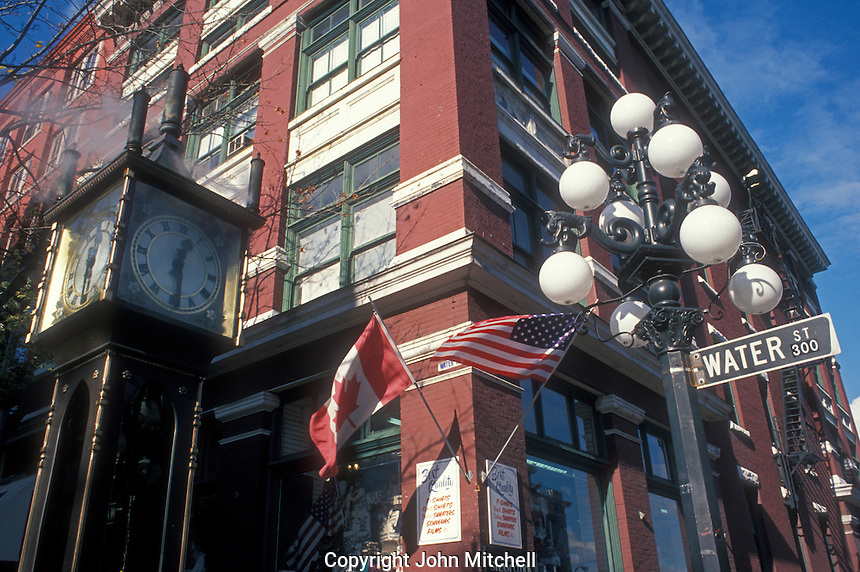 Historic steam clock and Water Street corner in Gastown, Vancouver, British Colombia, Canada