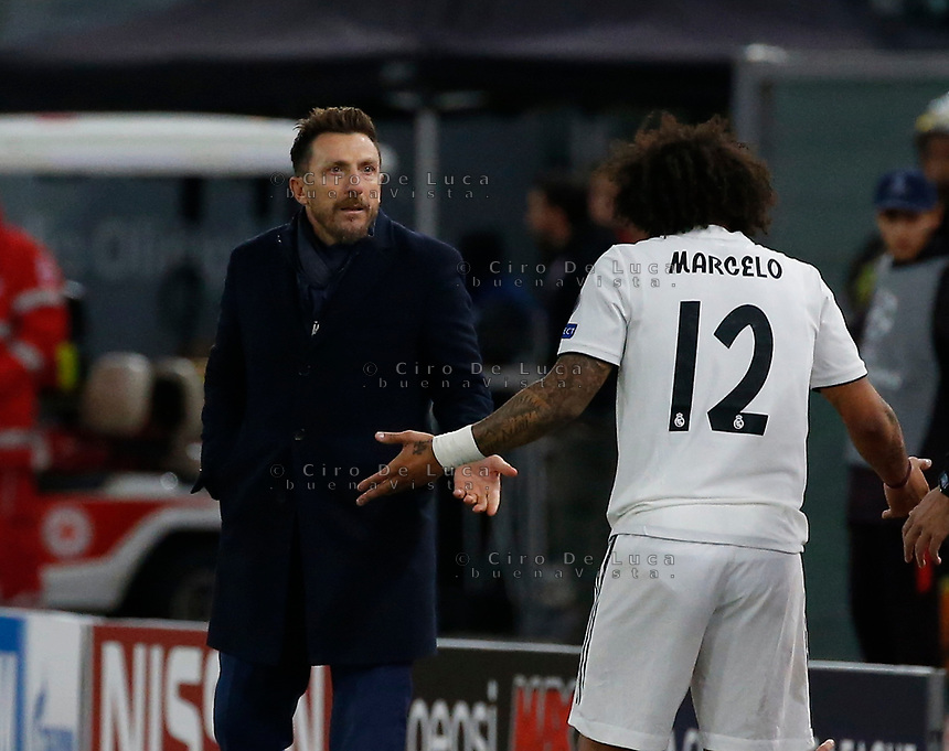 Eusebio Di Francesco coach of AS Roma  and Marcelo of Real Madrid  during the Champions League Group  soccer match between AS Roma - Real Madrid  at the Stadio Olimpico in Rome Italy 27 November 2018