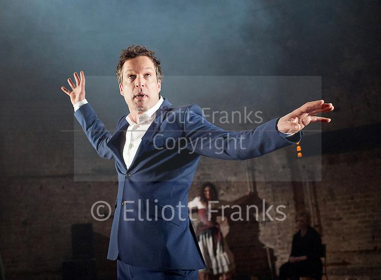 Carmen Disruption <br /> at Almeida Theatre, London, Great Britain <br /> press photocall<br /> 16th April 2015 <br /> <br /> <br /> <br /> John Light as Escamillo <br /> <br /> <br /> <br /> <br /> Photograph by Elliott Franks <br /> Image licensed to Elliott Franks Photography Services