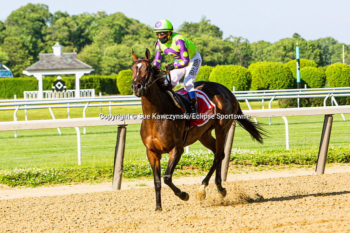 JUNE 03, 2020 : Rushing Falls with Javier Castellano aboard, wins the Grade 3 Beaugay Stakes, for fillies and mares going 1 1/16 mile, at Belmont Park, Elmont, NY.  Sue Kawczynski/Eclipse Sportswire/CSM