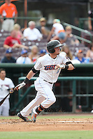 Kody Eaves (6) of the Inland Empire 66ers bats during a game against the Stockton Ports at San Manuel Stadium on June 28, 2015 in San Bernardino, California. Stockton defeated Inland Empire, 4-1. (Larry Goren/Four Seam Images)