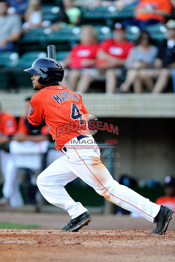 Center fielder Jason Martin (4) of the Greeneville Astros bats in a game against the Bristol Pirates on Friday, July 25, 2014, at Pioneer Park in Greeneville, Tennessee. Greeneville won, 9-4. (Tom Priddy/Four Seam Images)