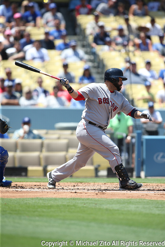 August 6, 2016 Los Angeles, CA: Boston Red Sox catcher Sandy Leon #3 during an MLB game played at Dodger Stadium against the Los Angeles Dodgers.