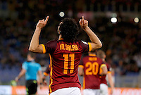 Calcio, Serie A:  Roma vs Palermo. Roma, stadio Olimpico, 21 febbraio 2016. <br /> Roma&rsquo;s Mohamed Salah celebrates after scoring his second goal during the Italian Serie A football match between Roma and Palermo at Rome's Olympic stadium, 21 February 2016.<br /> UPDATE IMAGES PRESS/Riccardo De Luca