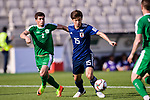 Osako Yuya of Japan (R) competes for the ball with Babajanov Zafar of Turkmenistan (L) during the AFC Asian Cup UAE 2019 Group F match between Japan (JPN) and Turkmenistan (TKM) at Al Nahyan Stadium on 09 January 2019 in Abu Dhabi, United Arab Emirates. Photo by Marcio Rodrigo Machado / Power Sport Images
