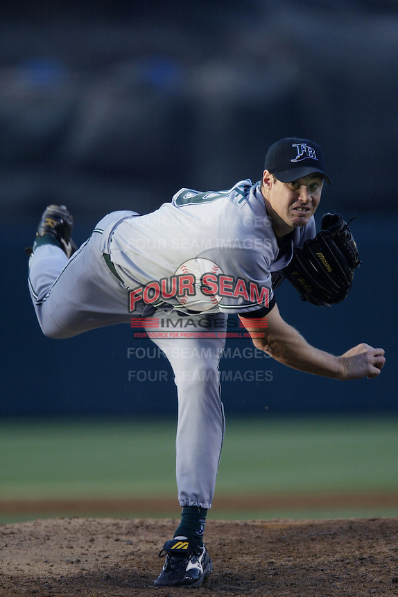 Tanyon Sturtze of the Tampa Bay Devil Rays pitches during a 2002 MLB season game against the Los Angeles Angels at Angel Stadium, in Los Angeles, California. (Larry Goren/Four Seam Images)