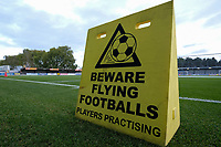 Beware of Flying balls sign ahead of AFC Wimbledon vs Bradford City, Sky Bet EFL League 1 Football at the Cherry Red Records Stadium on 2nd October 2018