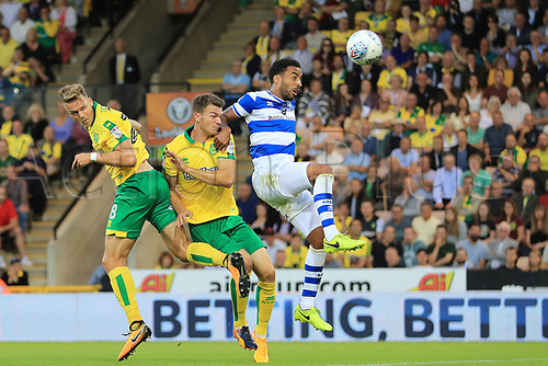 August 16th 2017, Carrow Road, Norwich, England; EFL Championship Football, Norwich City versus Queens Park Rangers; Marcel Franke of Norwich City gets a header on goal