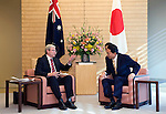 Australian Prime Minister Kevin Rudd and his Japanese counterpart Yukio Hatoyama talk during a meeting at the Japanese leader's offices in Tokyo, Japan on Tuesday Dec. 15 2009..Photographer: Robert Gilhooly.