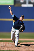 Myrtle Beach Pelicans pitcher Keone Kela (35) delivers a pitch during a game against the Wilmington Blue Rocks on April 27, 2014 at Frawley Stadium in Wilmington, Delaware.  Myrtle Beach defeated Wilmington 5-2.  (Mike Janes/Four Seam Images)