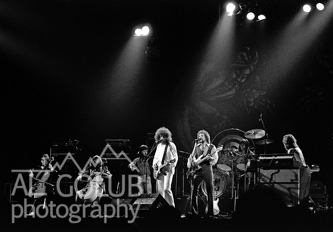 FRESNO, California—Some time in 1976, traveled with Bill Barr of Rock'n Chair Production  to see Electric Light Orchestra, Journey and Little Feat in Fresno Memorial Auditorium.  ElO members: Jeff Lynne, Bev Bevan, Richard Tandy, Mik Kaminski, Kelly Groucutt, Hugh McDowell and Melvyn Gale.  1975 - 1978 were big years for ELO.  Journey included Neal Schon on lead guitar, Gregg Rolie on keyboards and lead vocals, bassist Ross Valory and rhythm guitarist George Tickner.  Little Feat's classic line-up: Bill Payne, Richie Hayward, Sam Clayton, Lowell George, Paul Barrere and Kenny Gradney,  Photo by Al Golub/Golub Photography