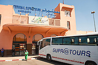 Supratours bus, Marrakech (Marrakesh), Morocco, North Africa, Africa. The supratours bus is the easiest way to travel between many destinations in Morocco.