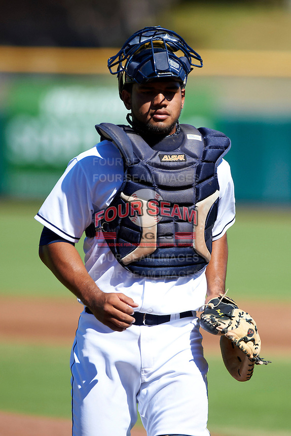 Scottsdale Scorpions catcher Alex Monsalve #9, of the Cleveland Indians organization, during an Arizona Fall League game against the Surprise Saguaros at Scottsdale Stadium on October 16, 2012 in Scottsdale, Arizona.  Surprise defeated Scottsdale 11-3.  (Mike Janes/Four Seam Images)