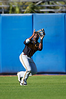 Bethune-Cookman Wildcats left fielder Rakeem Quinn (2) catches a fly ball during a game against the Wisconsin-Milwaukee Panthers on February 26, 2016 at Chain of Lakes Stadium in Winter Haven, Florida.  Wisconsin-Milwaukee defeated Bethune-Cookman 11-0.  (Mike Janes/Four Seam Images)