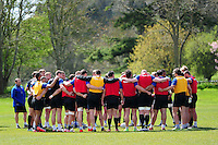 The Bath Rugby squad huddle together. Bath Rugby training session on May 3, 2016 at Farleigh House in Bath, England. Photo by: Patrick Khachfe / Onside Images