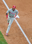 6 September 2014: Philadelphia Phillies outfielder Domonic Brown rounds third after hitting a home run against the Washington Nationals at Nationals Park in Washington, DC. The Nationals fell to the Phillies 3-1 in the second game of their 3-game series. Mandatory Credit: Ed Wolfstein Photo *** RAW (NEF) Image File Available ***