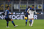 Jose Palomino of Atalanta clears the ball from Romelu Lukaku and Lautaro Martinez of Inter during the Serie A match at Giuseppe Meazza, Milan. Picture date: 11th January 2020. Picture credit should read: Jonathan Moscrop/Sportimage