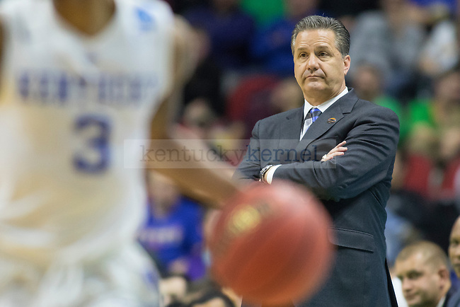 Head coach John Calipari of the Kentucky Wildcats looks on during the NCAA Tournament first round game against the Stony Brook Seawolves at Wells Fargo Arena on Thursday, March 17, 2016 in Des Moines, Iowa. Photo by Michael Reaves | Staff.