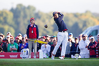 Ricky Fowler (Team USA) on the 3rd tee during the Saturday morning Foursomes at the Ryder Cup, Hazeltine national Golf Club, Chaska, Minnesota, USA.  01/10/2016<br /> Picture: Golffile | Fran Caffrey<br /> <br /> <br /> All photo usage must carry mandatory copyright credit (&copy; Golffile | Fran Caffrey)