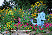 63821-17108 Blue Adirondack chair and green chair in flower garden, Marion Co. IL